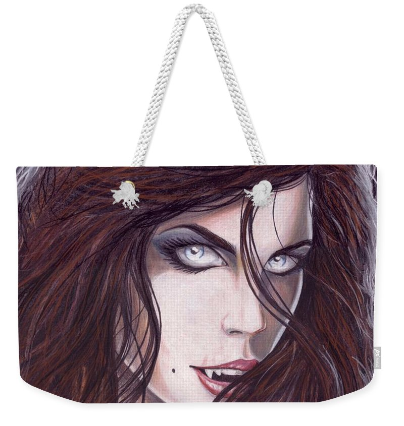 Girl Weekender Tote Bag featuring the drawing Vampiress by Kristopher VonKaufman