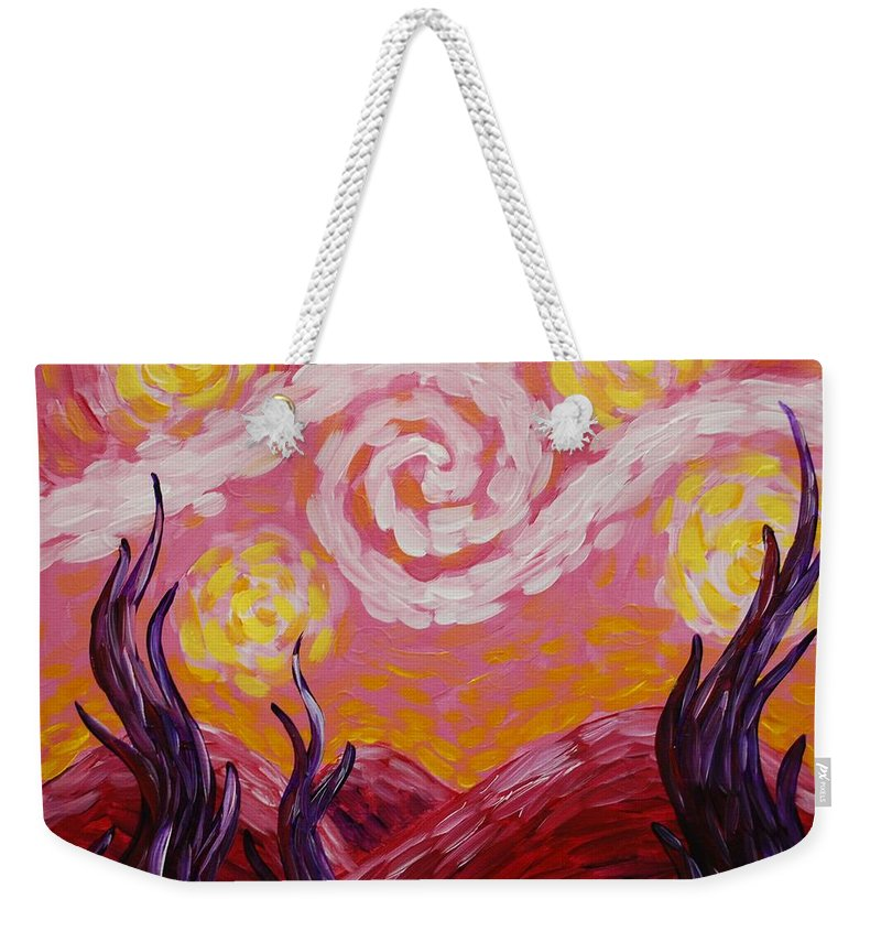 Van Gogh Weekender Tote Bag featuring the painting Van Gogh Sunset by Emily Page