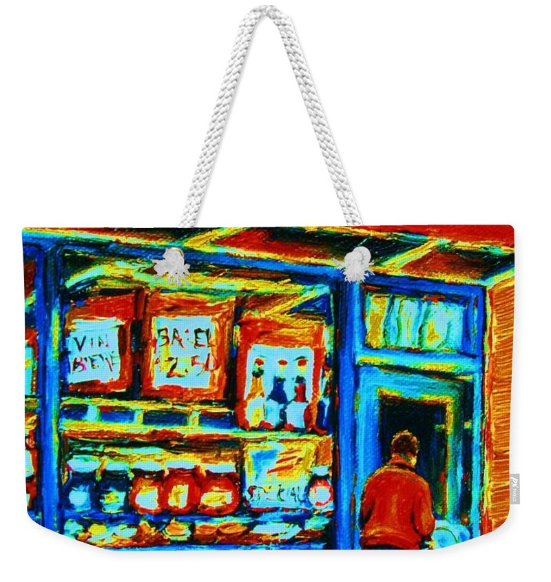 Van Horne Bagel Weekender Tote Bag featuring the painting Van Horne Bagel by Carole Spandau