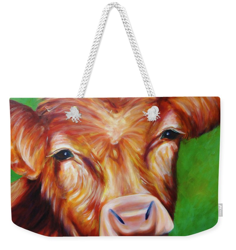 Bull Weekender Tote Bag featuring the painting Van by Shannon Grissom
