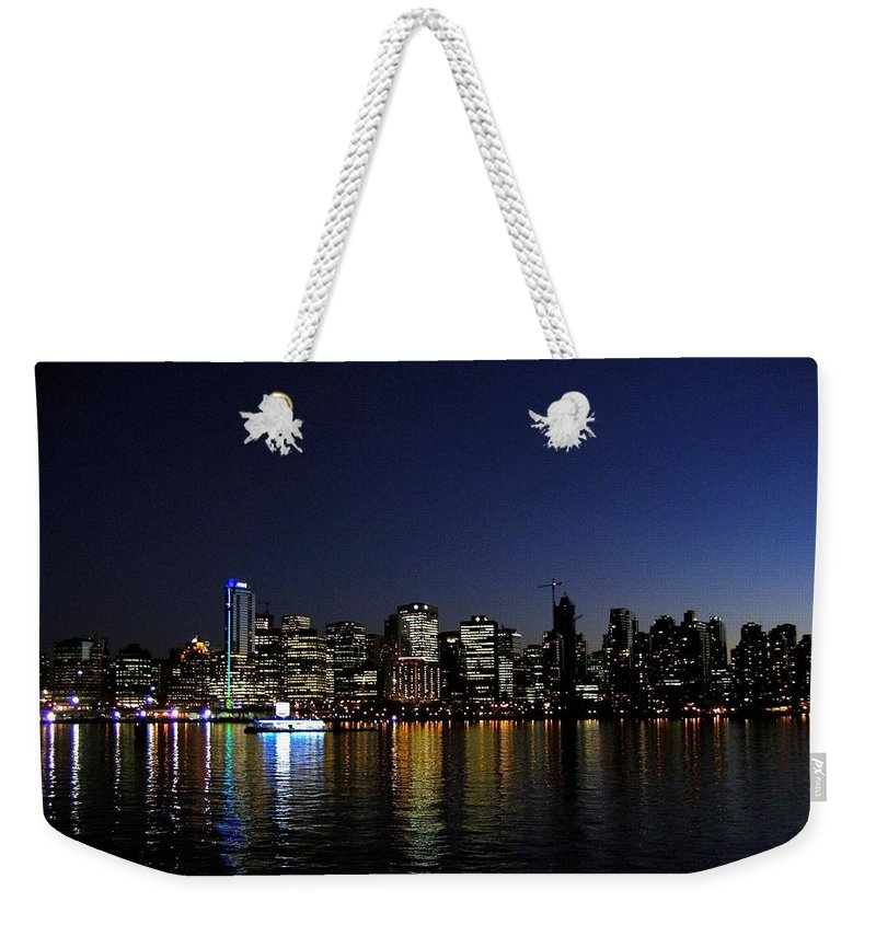 Night Scape Weekender Tote Bag featuring the photograph Vancouver Night Lights by Will Borden