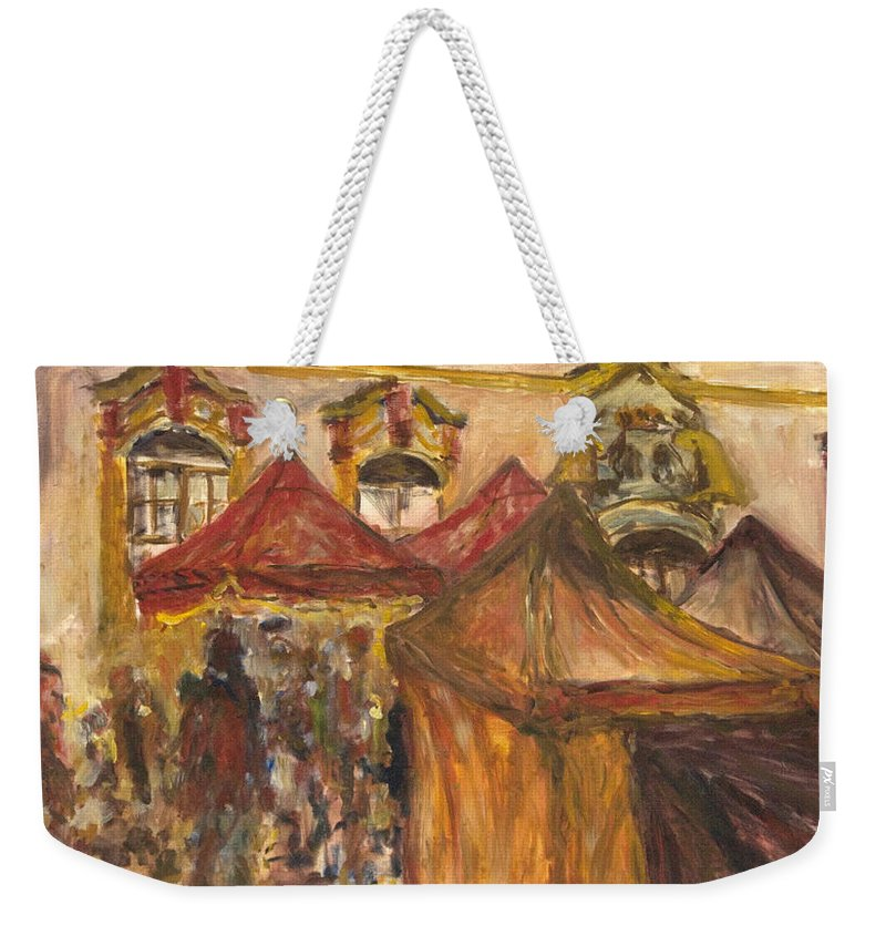 Landscape Weekender Tote Bag featuring the painting Vanocni Trh by Pablo de Choros
