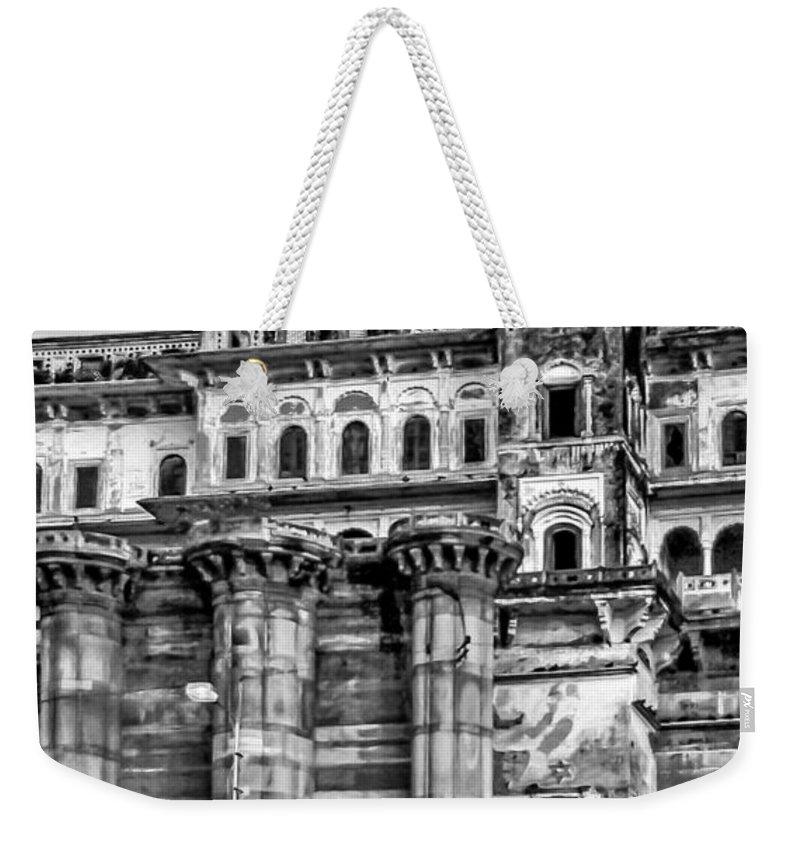 Sacred Weekender Tote Bag featuring the photograph Varanasi Bw by Steve Harrington