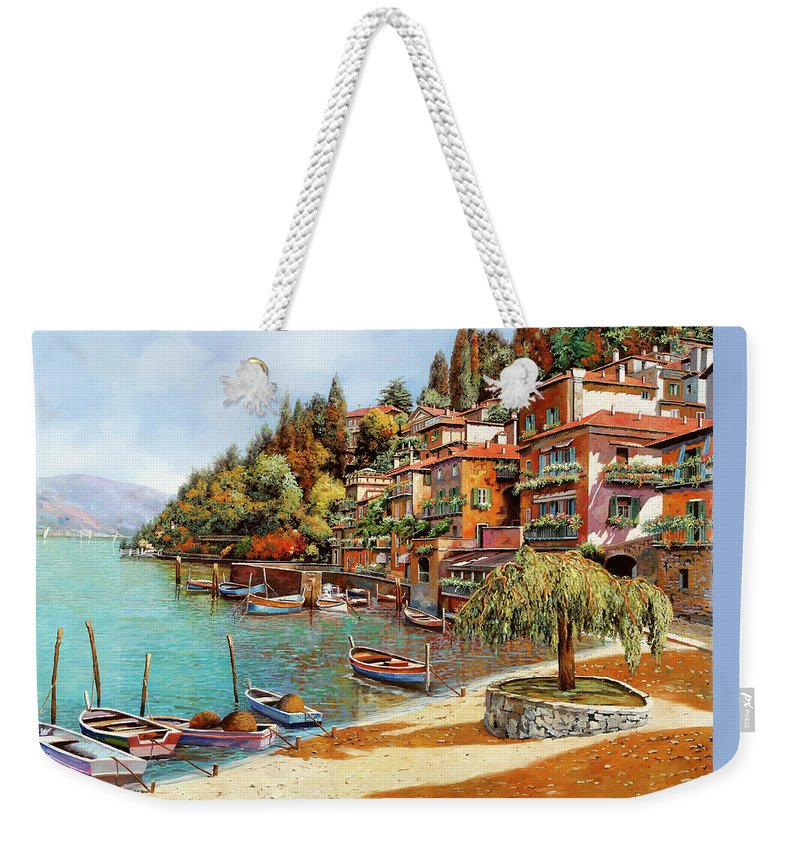 Lake Como Weekender Tote Bag featuring the painting Varenna On Lake Como by Guido Borelli