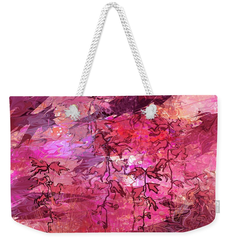 Abstract Weekender Tote Bag featuring the digital art Variant Whispers by Rachel Christine Nowicki