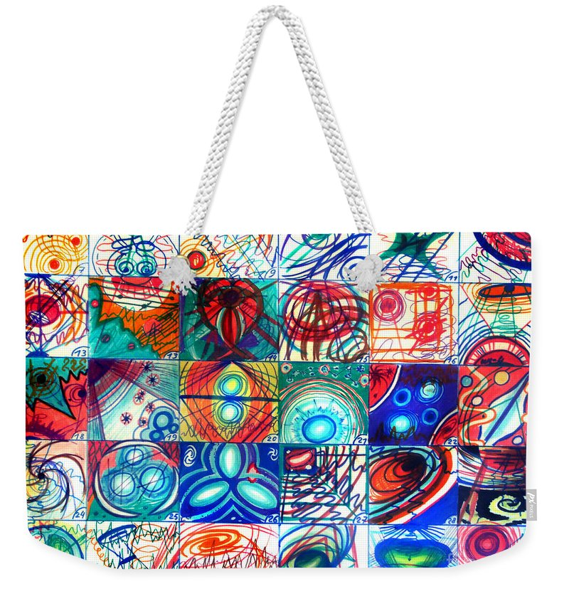 Space Weekender Tote Bag featuring the drawing Variety Of Space Galaxies Stars Anomalies. Part 1 by Sofia Metal Queen