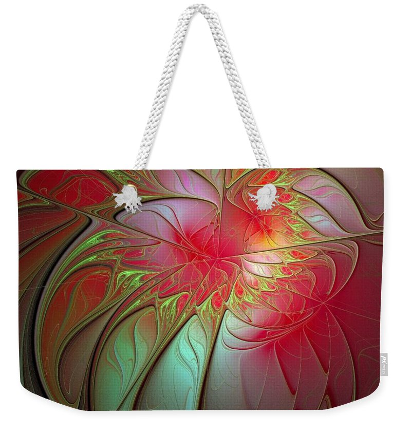 Digital Art Weekender Tote Bag featuring the digital art Vase of Flowers by Amanda Moore