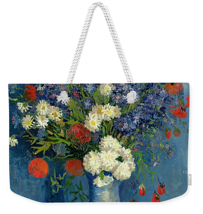Still Weekender Tote Bag featuring the painting Vase With Cornflowers And Poppies by Vincent Van Gogh