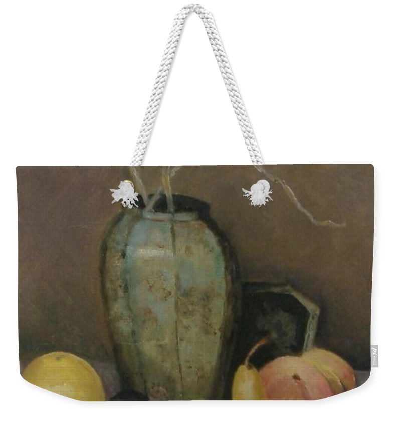 Still Life Weekender Tote Bag featuring the painting Vase With Fruit by Pat Snook