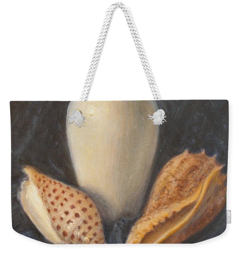 Realism Weekender Tote Bag featuring the painting Vase with Imperial Volute and Junonia by Donelli DiMaria