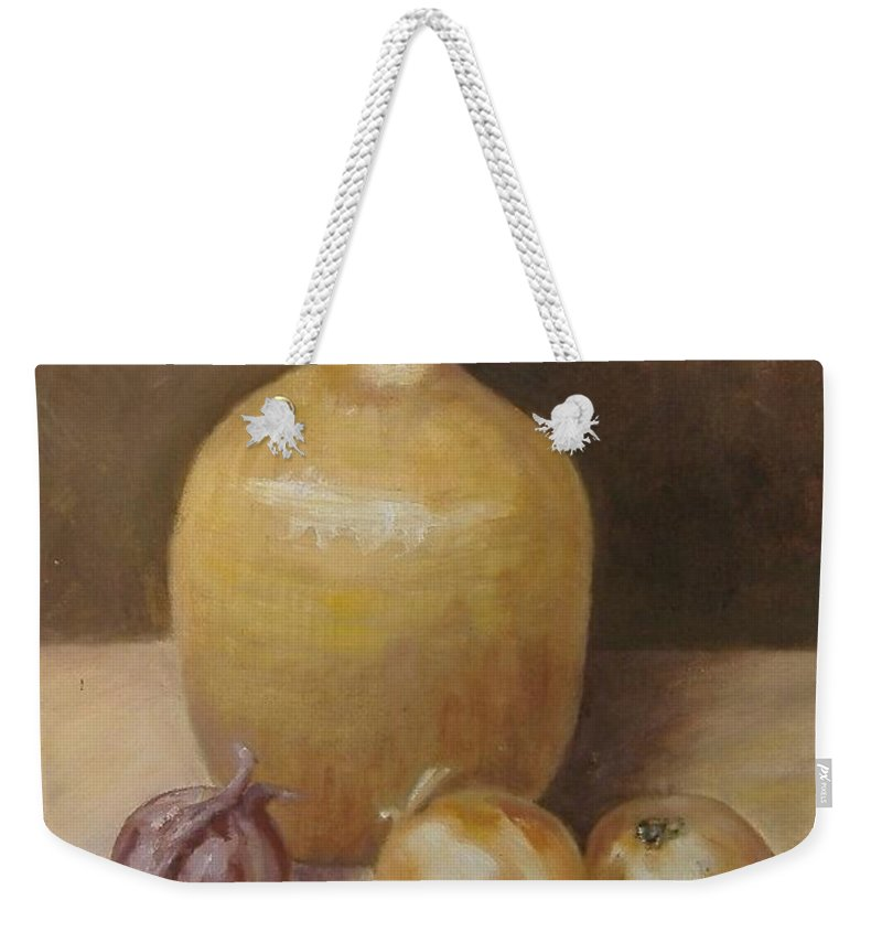 Still Life Weekender Tote Bag featuring the painting Vase With Onion by Pat Snook