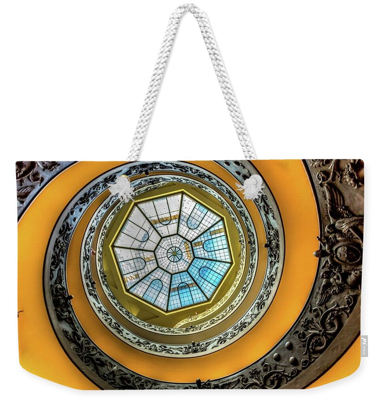 Architecture Weekender Tote Bag featuring the photograph Vatican Staircase Looking Up by Mike Houghton BlueMaxPhotography