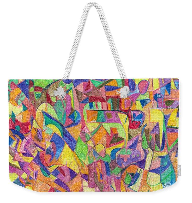 Portion Weekender Tote Bag featuring the drawing Vayerah by David Baruch Wolk