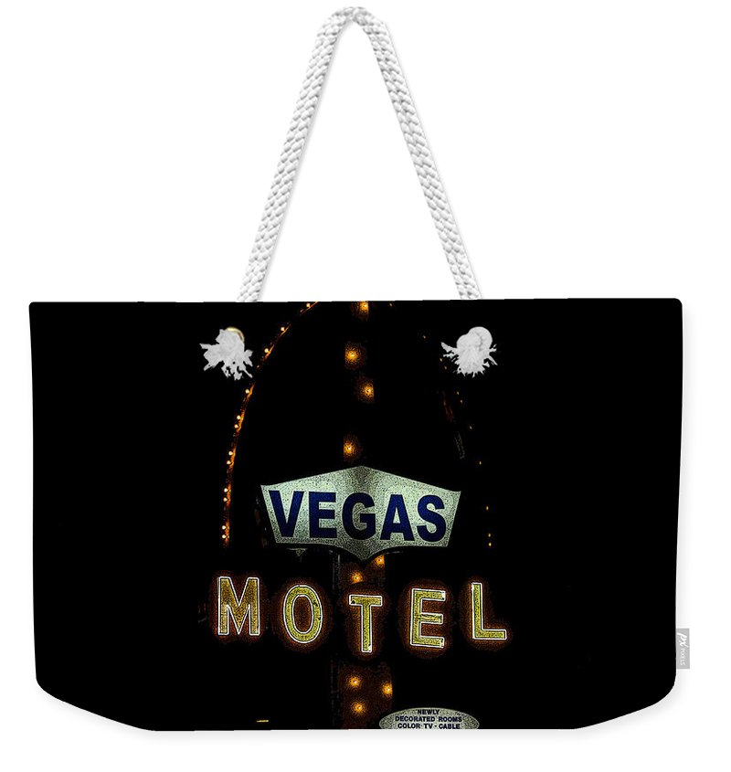 Art Weekender Tote Bag featuring the painting Vegas Motel by David Lee Thompson