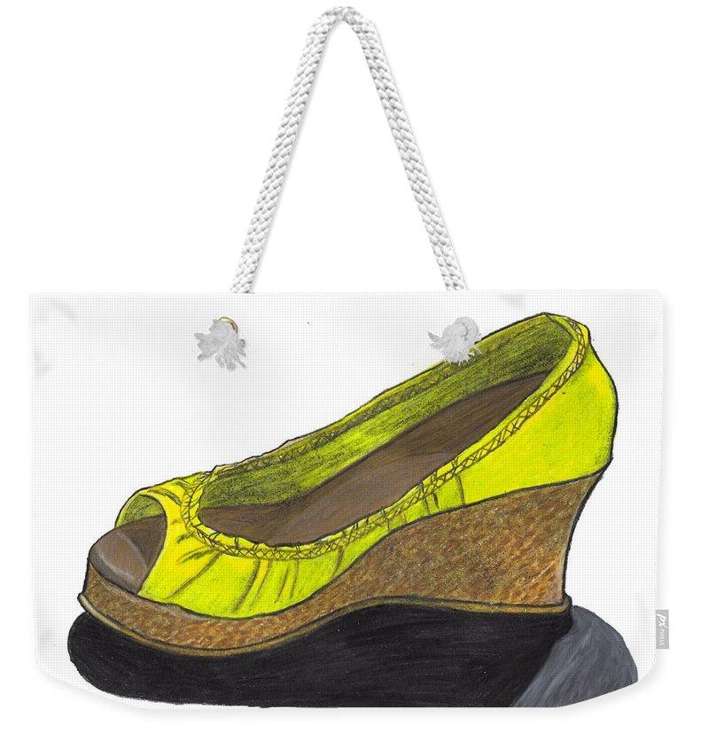 Shoe Weekender Tote Bag featuring the drawing Vegas Shoes by Jean Haynes