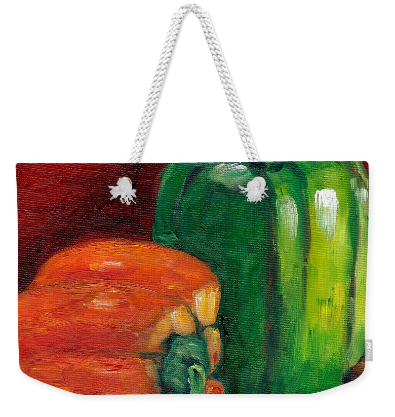 Peppers Weekender Tote Bag featuring the painting Vegetable Still Life Green And Orange Pepper Grace Venditti Montreal Art by Grace Venditti