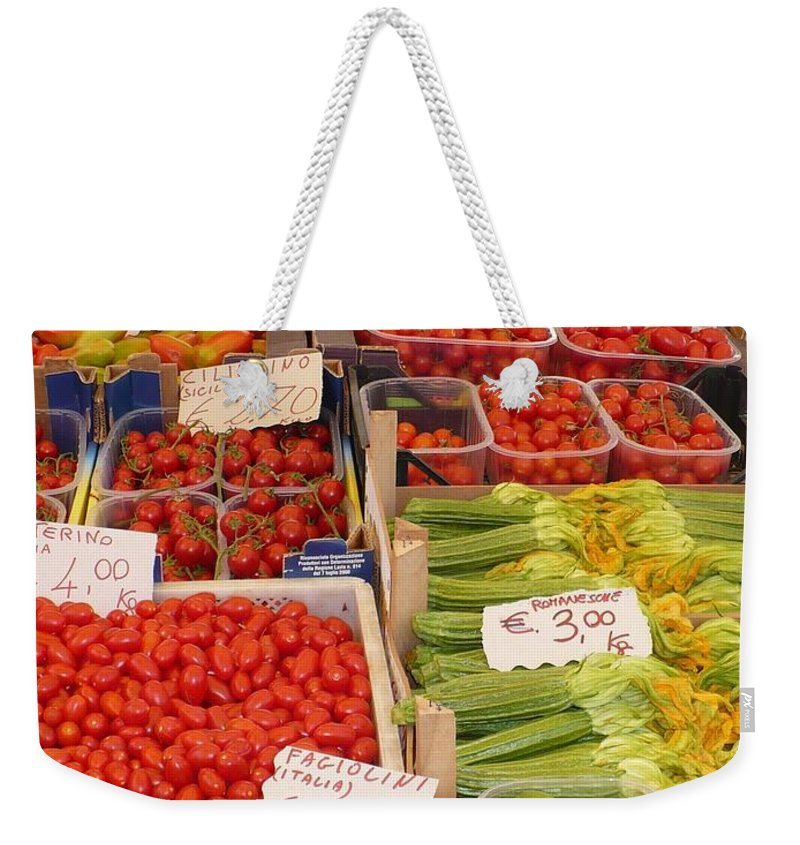 European Markets Weekender Tote Bag featuring the photograph Vegetables At Italian Market by Carol Groenen