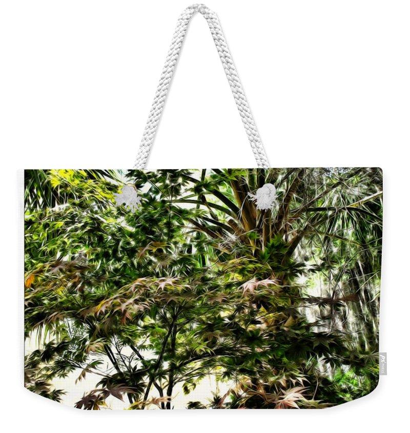 Charleston Weekender Tote Bag featuring the digital art Vegetation Takeover by Joan Minchak