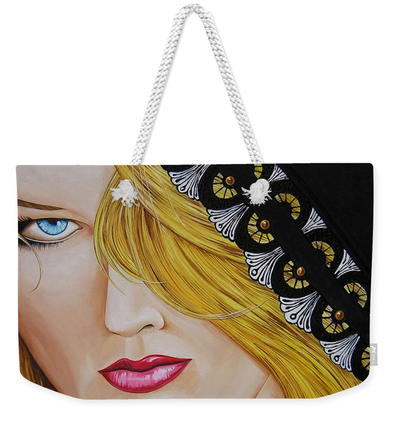 Woman Weekender Tote Bag featuring the painting Veiled Woman by Juan Alcantara