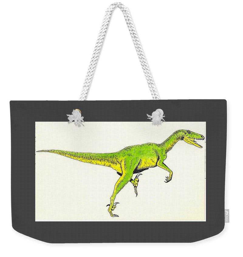 Dinosaur Weekender Tote Bag featuring the painting Velociraptor by Michael Vigliotti