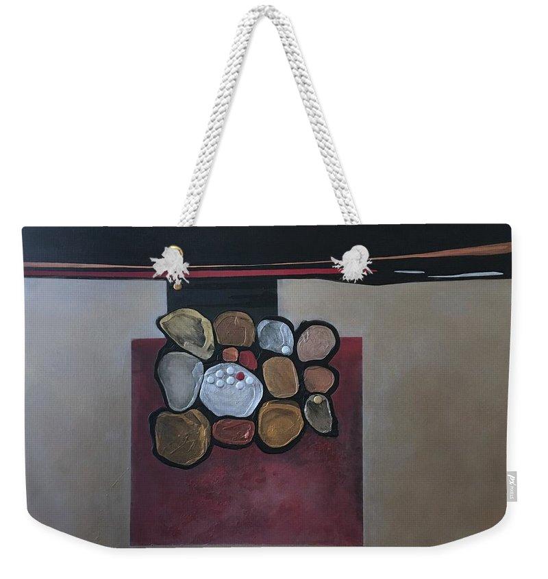 Metallic Weekender Tote Bag featuring the painting Velocity by Marlene Burns