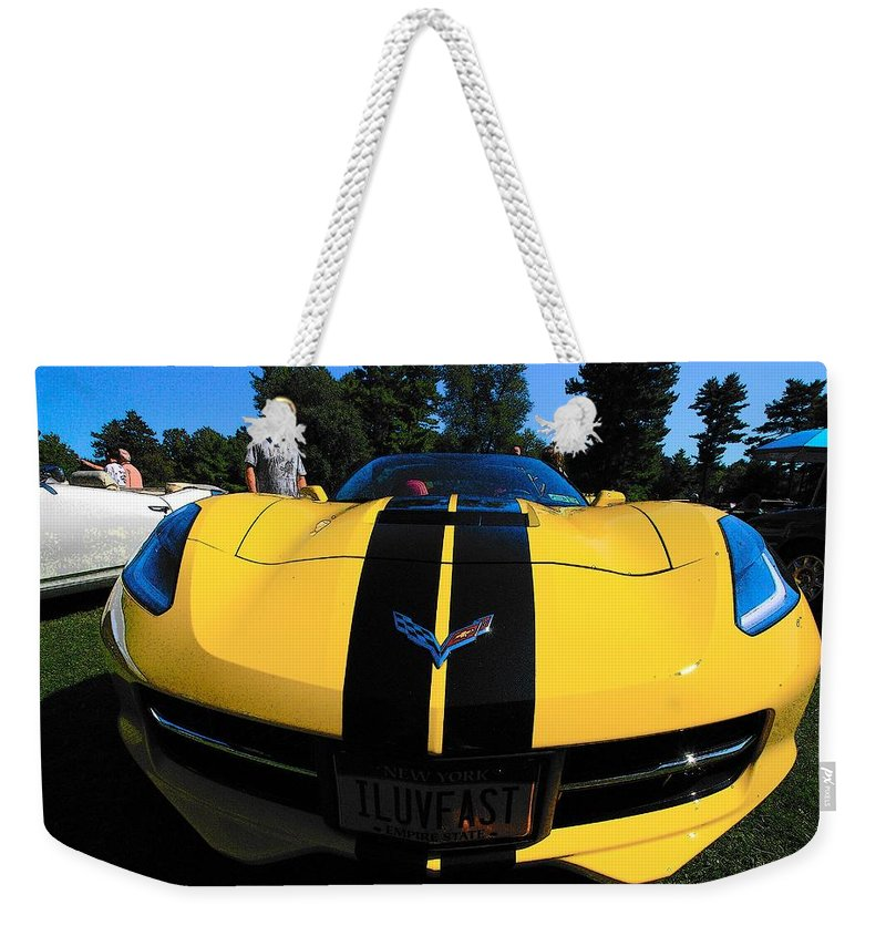 Automobiles Weekender Tote Bag featuring the photograph Velocity Yellow by John Schneider