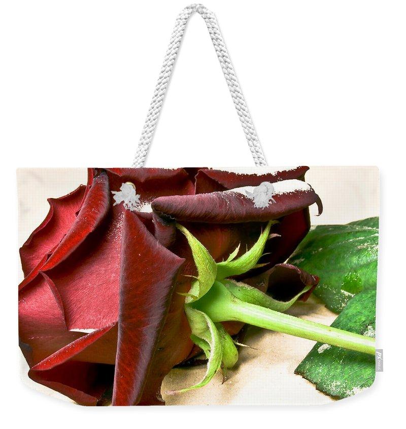 Arrangement Weekender Tote Bag featuring the photograph Velvet Rose by Svetlana Sewell