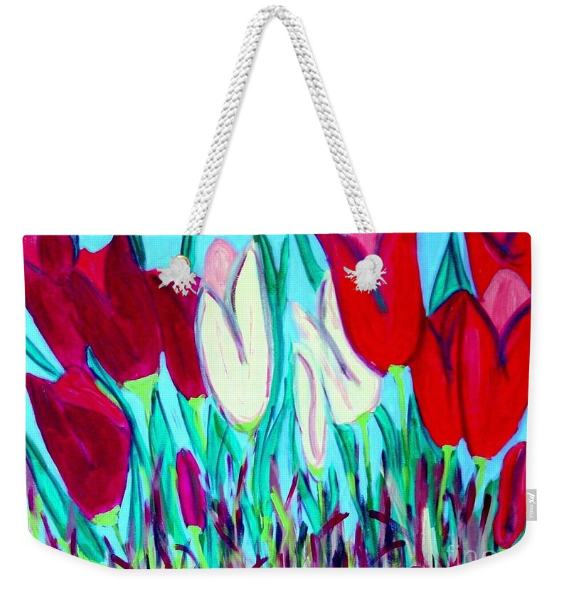 Tulips Weekender Tote Bag featuring the painting Velvet Tulips by Laurie Morgan