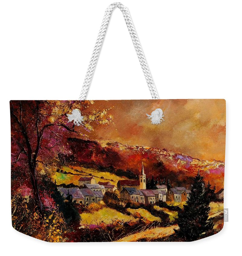 River Weekender Tote Bag featuring the painting Vencimont Village Ardennes by Pol Ledent