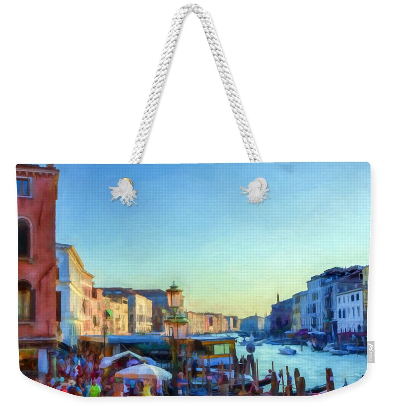 Venice Weekender Tote Bag featuring the digital art Venetian Afternoon I by Ronald Bolokofsky
