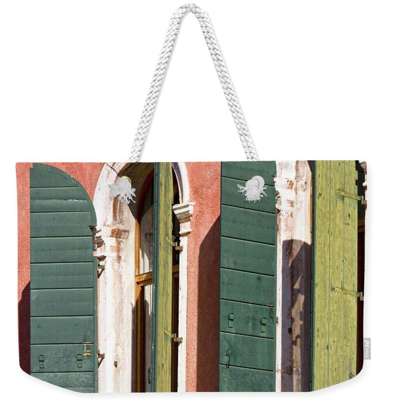 Europe Weekender Tote Bag featuring the photograph Venetian Windows by Heiko Koehrer-Wagner
