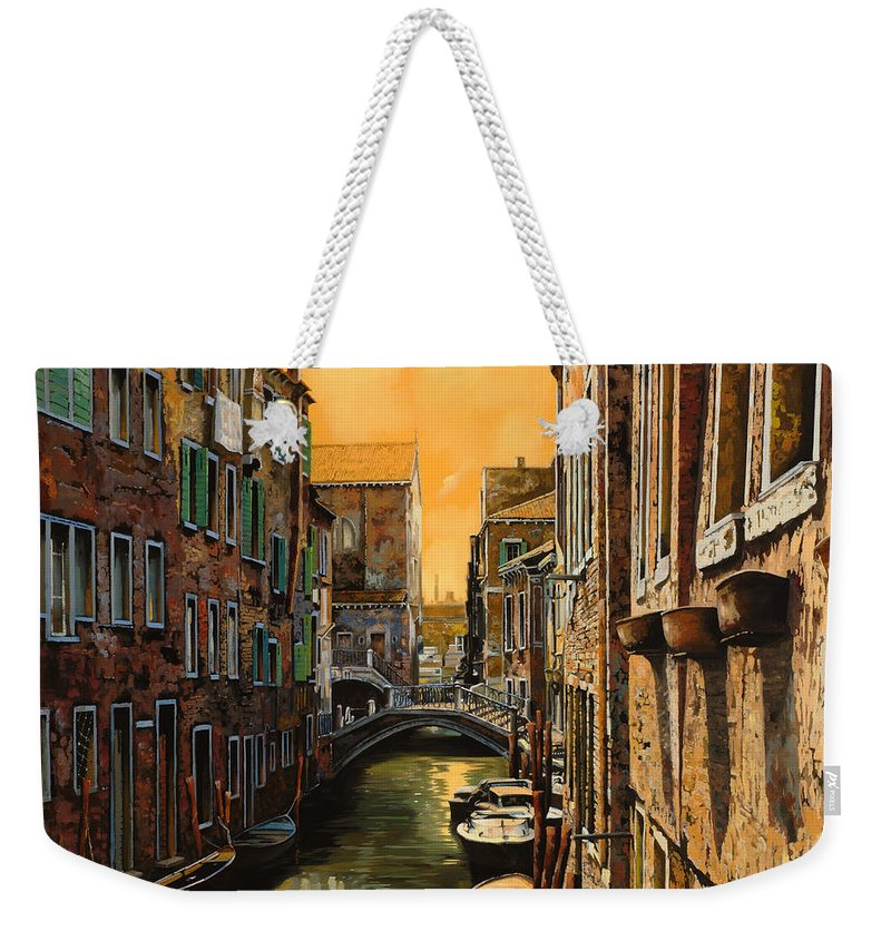 Venice Weekender Tote Bag featuring the painting Venezia Al Tramonto by Guido Borelli