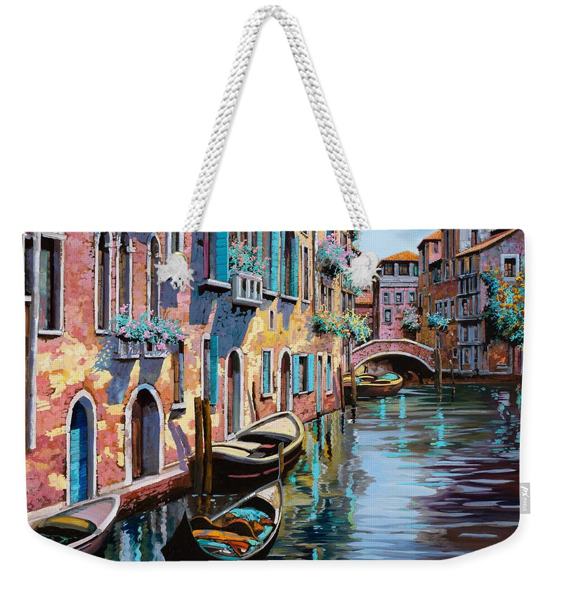 Venice Weekender Tote Bag featuring the painting Venezia In Rosa by Guido Borelli