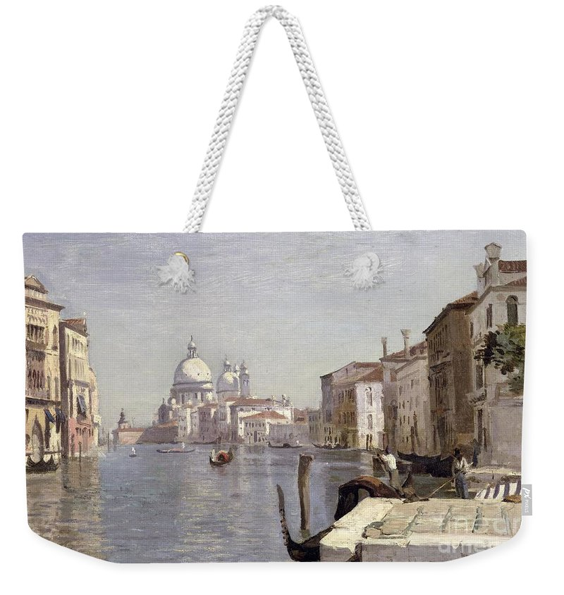 Venice Weekender Tote Bag featuring the painting Venice - View Of Campo Della Carita Looking Towards The Dome Of The Salute by Jean Baptiste Camille Corot