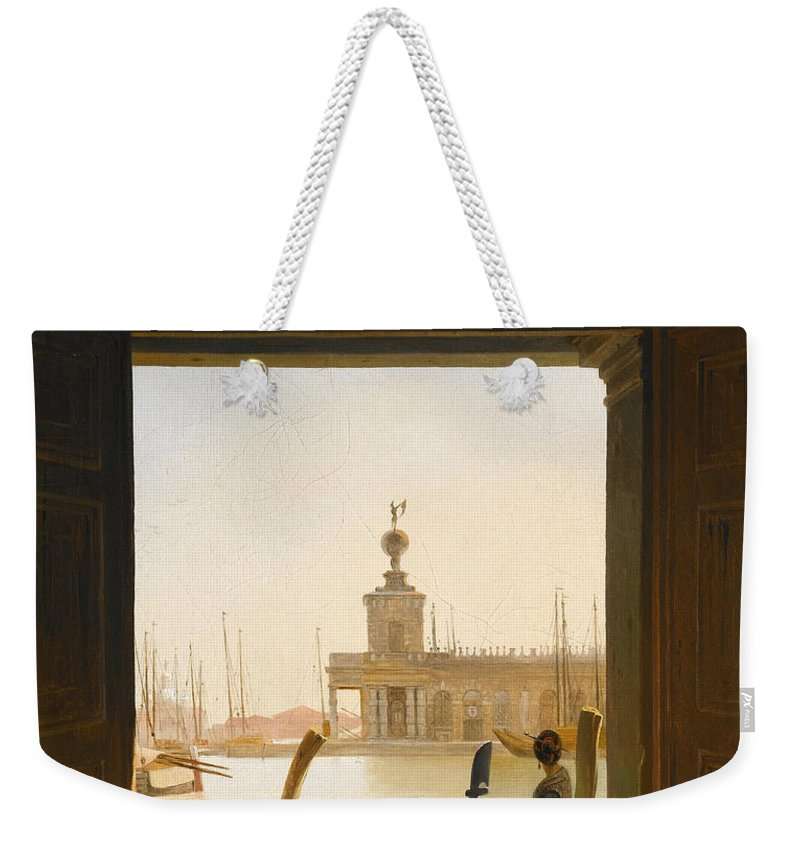 Charles Auguste Van Den Berghe Weekender Tote Bag featuring the painting Venice A View Of The Dogana Seen Through A Large Doorway by Charles Auguste van den Berghe