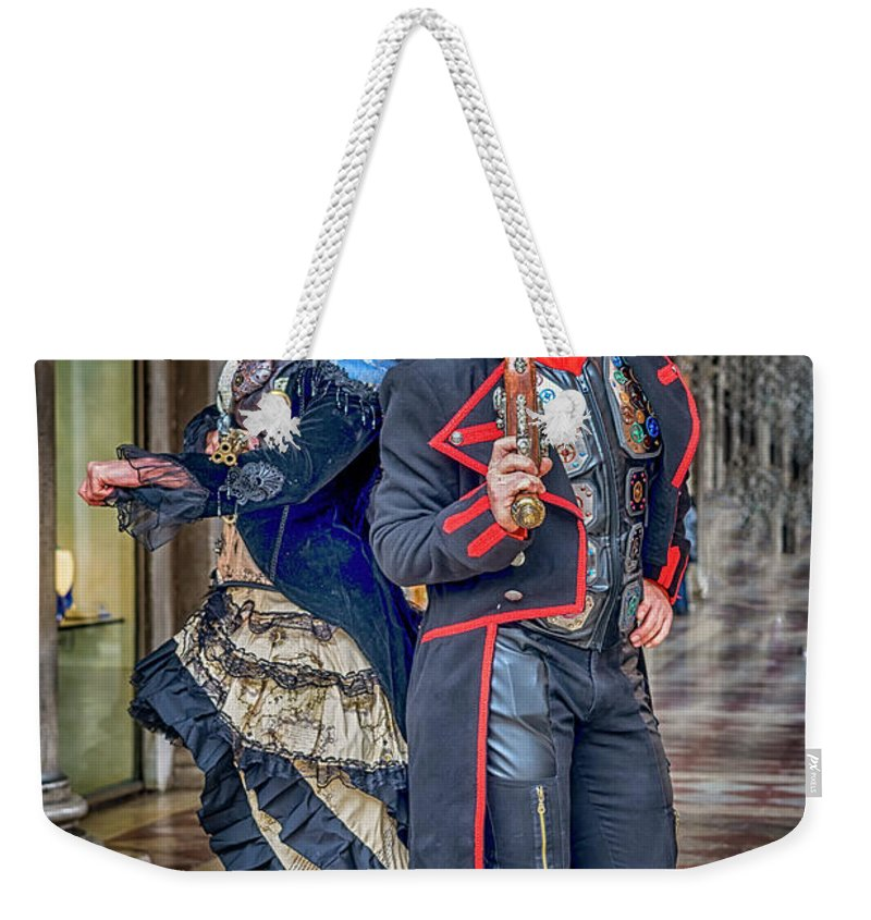 Europe Weekender Tote Bag featuring the photograph Venice Carnival Characters_dsc1364_02282017 by Greg Kluempers