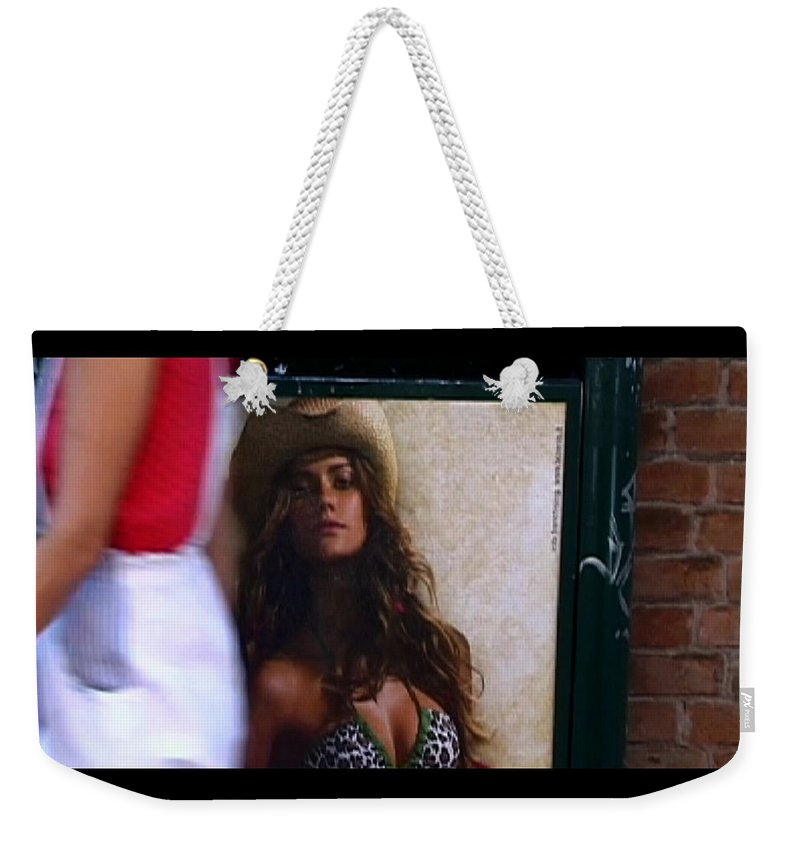 Venice Weekender Tote Bag featuring the photograph Venice Cowgirl by Charles Stuart