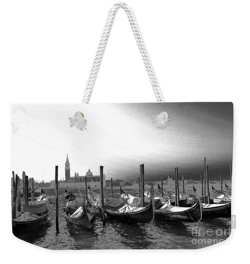 Gondolas Weekender Tote Bag featuring the photograph Venice Gondolas Black And White by Rebecca Margraf