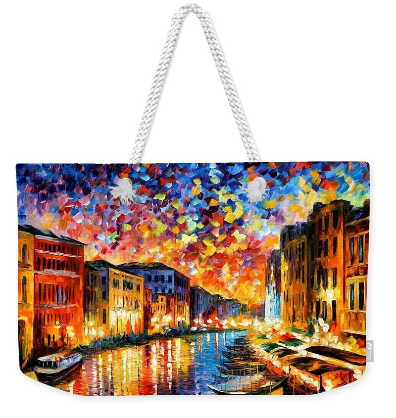 Afremov Weekender Tote Bag featuring the painting Venice - Grand Canal by Leonid Afremov