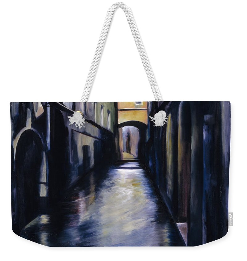 Street; Canal; Venice ; Desert; Abandoned; Delapidated; Lost; Highway; Route 66; Road; Vacancy; Run-down; Building; Old Signage; Nastalgia; Vintage; James Christopher Hill; Jameshillgallery.com; Foliage; Sky; Realism; Oils Weekender Tote Bag featuring the painting Venice by James Christopher Hill