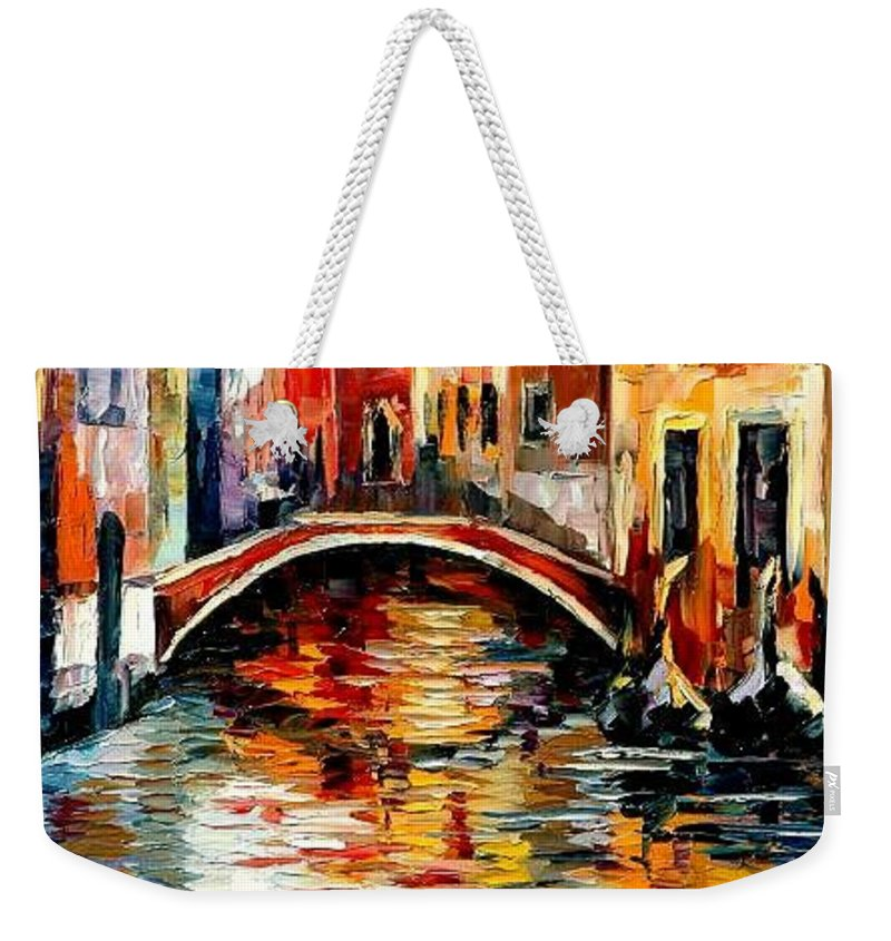 Landscape Weekender Tote Bag featuring the painting Venice by Leonid Afremov