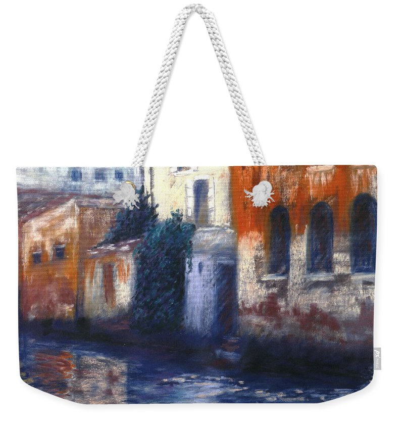 Venice Canals Old World Weekender Tote Bag featuring the pastel Venice Reflections by Pat Snook