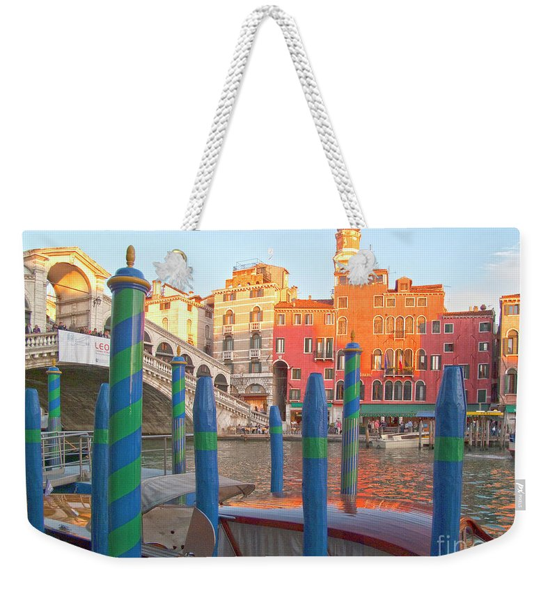 Venice Weekender Tote Bag featuring the photograph Venice Rialto Bridge by Heiko Koehrer-Wagner