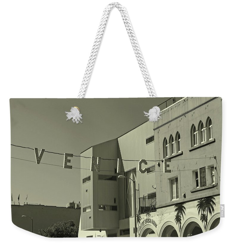 Venice Beach Weekender Tote Bag featuring the photograph Venice Sign by Kelly Holm