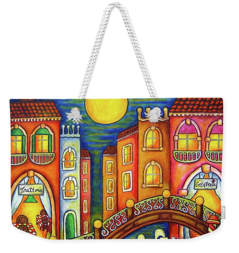 Colourful Weekender Tote Bag featuring the painting Venice Soiree by Lisa Lorenz