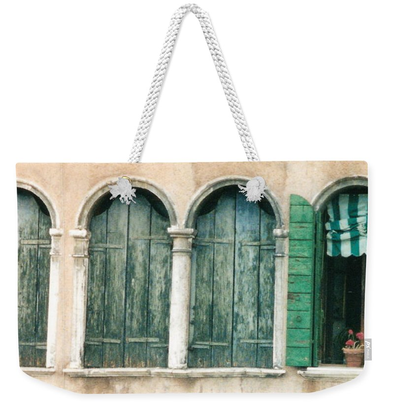 Venice Weekender Tote Bag featuring the photograph Venice Window Flower Pot by Lauri Novak