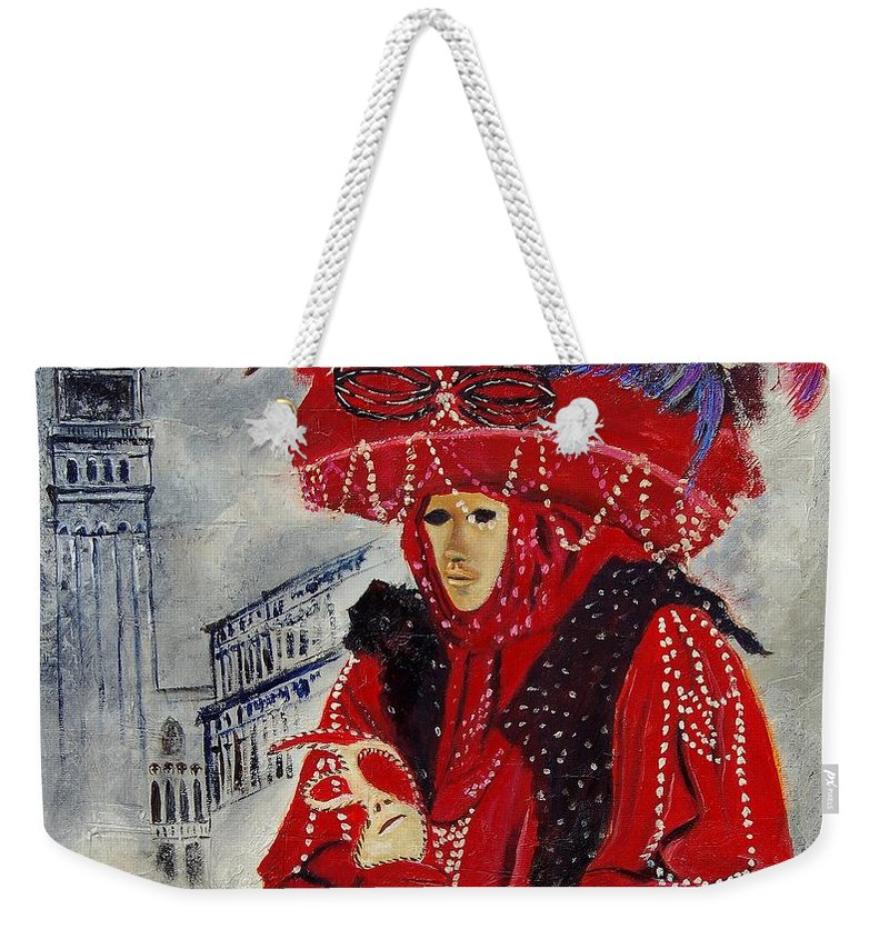 Venice Weekender Tote Bag featuring the painting Venitian Mask 0130 by Pol Ledent