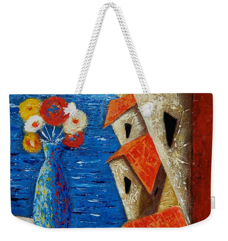 Landscape Weekender Tote Bag featuring the painting Ventana Al Mar by Oscar Ortiz