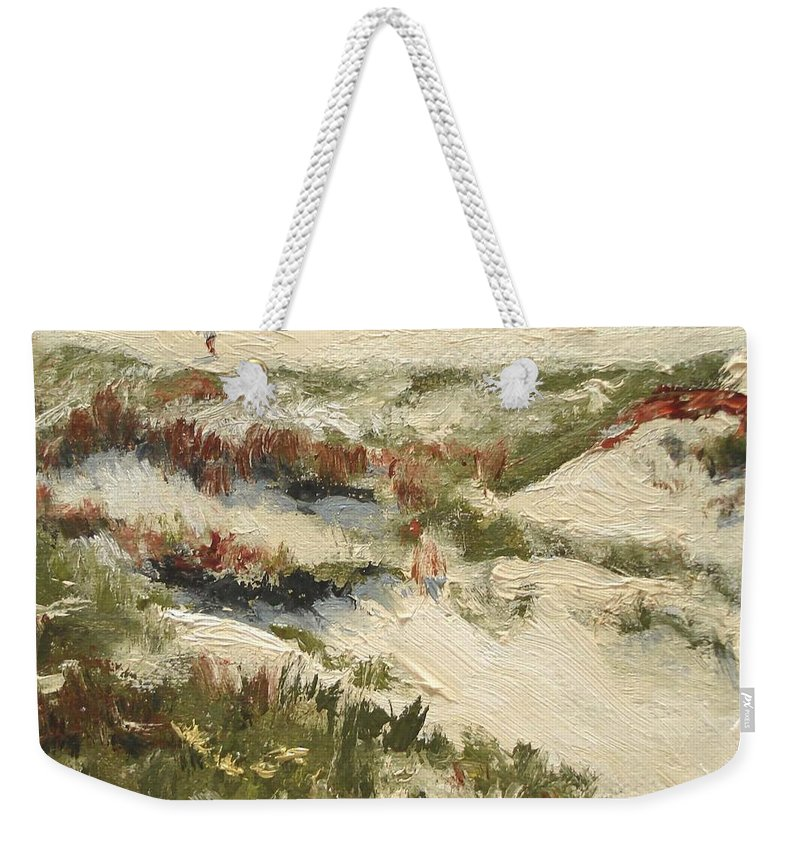 Water Weekender Tote Bag featuring the painting Ventura Dunes II by Barbara Andolsek