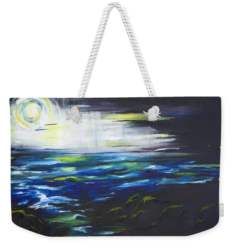 Night Weekender Tote Bag featuring the painting Ventura Seascape At Night by Sheridan Furrer